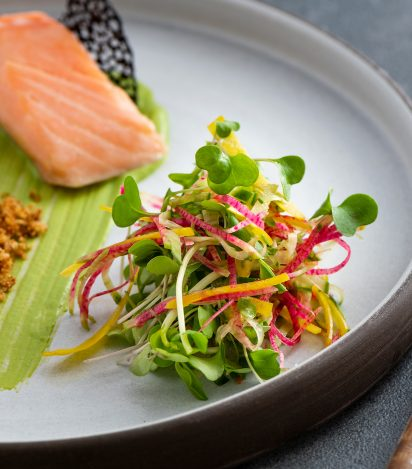 02. Salmon with Pea and Tarragon Mousse with Toasted Herbed Crumbs, Microgreen and Julienned Vegetable Salad