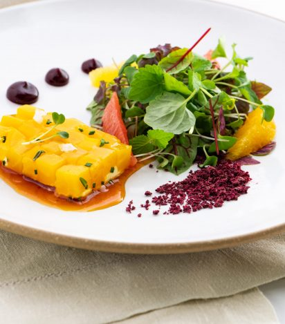 03. Golden Beet Terrine with Citrus and Baby Green Salad with Citrus Crema, Beet Gelee and Burnt Orange Gastrique